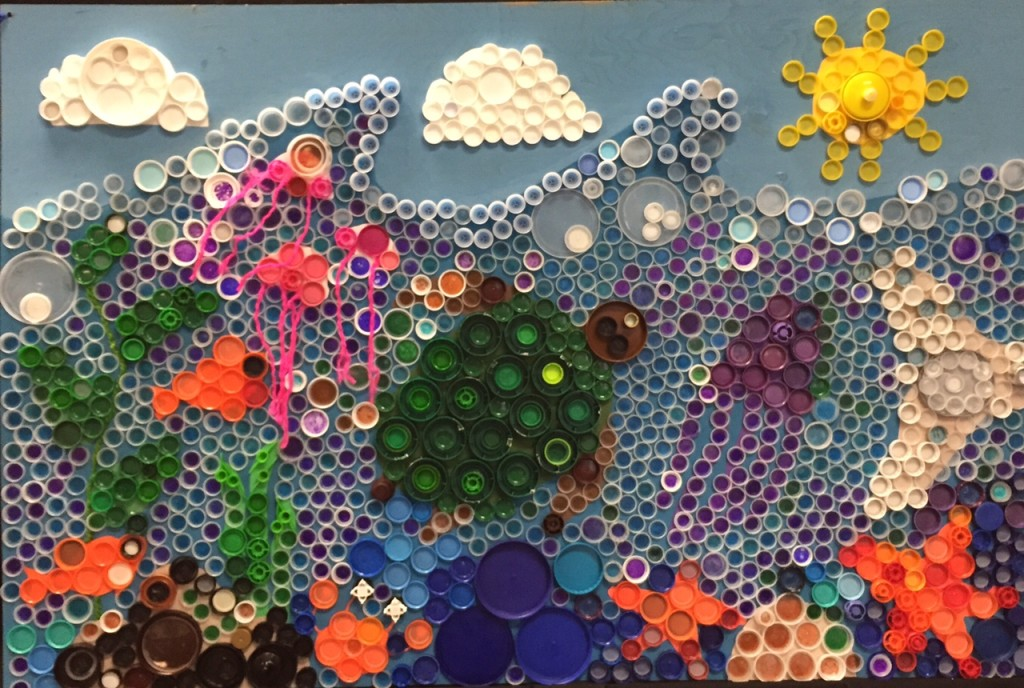completed bottlecap mural